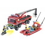 Transportul Barcii de Pompieri, 420 de piese si 3 figurine, Fire Rescue 907