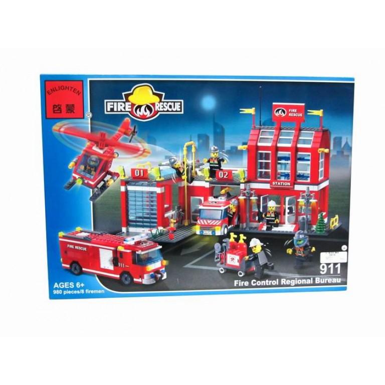 Statia mare de Pompieri, 980 de piese si 8 figurine, Fire Rescue 911